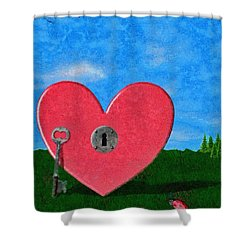 Key To My Heart Shower Curtain by Jeffrey Kolker