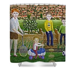 Kids In The Garden Shower Curtain by Ronald Haber