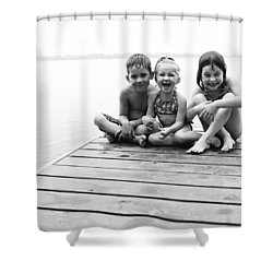 Kids Sitting On Dock Shower Curtain by Michelle Quance