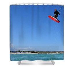 Kiesurfing Shower Curtain by Stelios Kleanthous