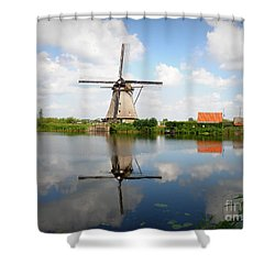 Kinderdijk Windmill Shower Curtain by Lainie Wrightson