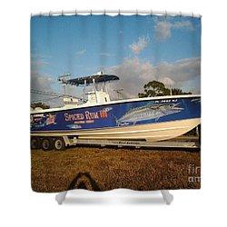 Kingfish Boat Wrap Shower Curtain by Carey Chen