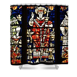 Kings And Holy Men Medieval Stained Glass Collage Shower Curtain by Lisa Knechtel