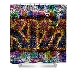 Kiss Bottle Cap Mosaic Shower Curtain by Paul Van Scott