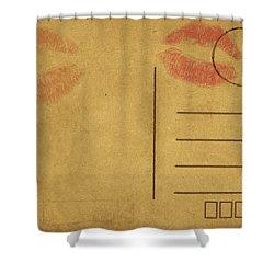 Kiss Lips On Postcard Shower Curtain by Setsiri Silapasuwanchai