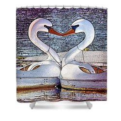 Shower Curtain featuring the photograph Kissing Swans by Alice Gipson