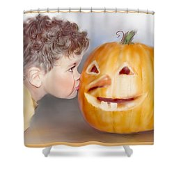 Shower Curtain featuring the painting Kissy Face by Bonnie Willis