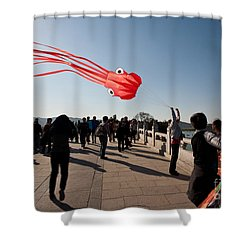 Kite Aloft Shower Curtain by Mike Reid