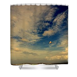 Kite At Folly Beach Near Charleston Sc Shower Curtain by Susanne Van Hulst