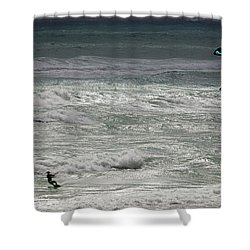 Kiteboarding Shower Curtain by Nick  Shirghio