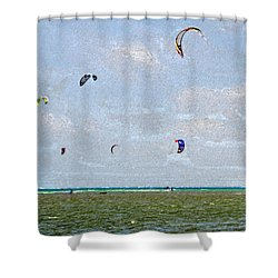 Kites Over The Bay Shower Curtain by David Lee Thompson