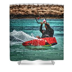 Kitesurfer Shower Curtain by Stelios Kleanthous