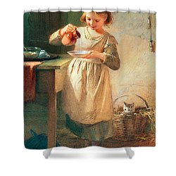 Kitty's Breakfast Shower Curtain by Farmer Emily
