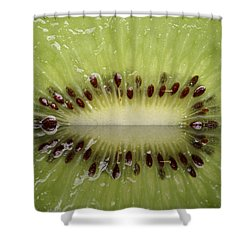 Kiwi Fruit Reflected On Glass Shower Curtain by Mark Duffy