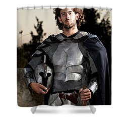 Knight In Shining Armour Shower Curtain by Yedidya yos mizrachi