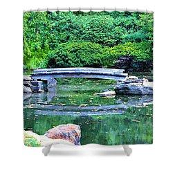Koi Pond Pondering - Japanese Garden Shower Curtain by Bill Cannon