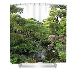 Kokoen Samurai Gardens - Himeji City Japan Shower Curtain by Daniel Hagerman