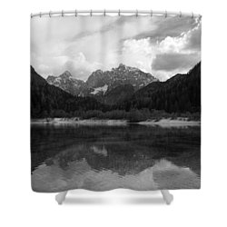 Kranjska Gora In Black And White Shower Curtain