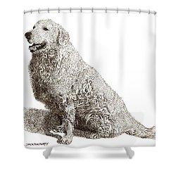 Kuvasz Named Pax Shower Curtain by Jack Pumphrey