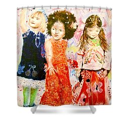Shower Curtain featuring the drawing La Fete by Beth Saffer