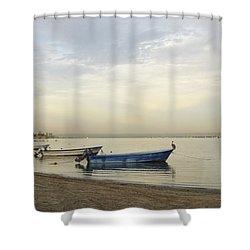 La Paz Waterfront Shower Curtain by Anne Mott