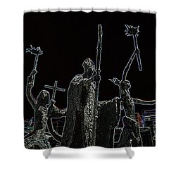 La Rogativa Statue Old San Juan Puerto Rico Glowing Edges Shower Curtain by Shawn O'Brien