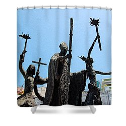 La Rogativa Statue Old San Juan Puerto Rico Ink Outlines Shower Curtain by Shawn O'Brien