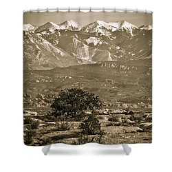 La Sal Mountains Utah Shower Curtain by Marilyn Hunt