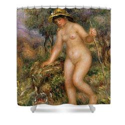 La Source Or Gabrielle Nue Shower Curtain by Pierre Auguste Renoir