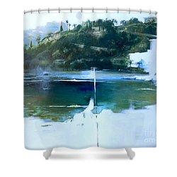 La Villefranche Franche Shower Curtain by Lin Petershagen