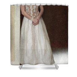 Lacy In Ecru Lace Gown Shower Curtain by Jill Battaglia