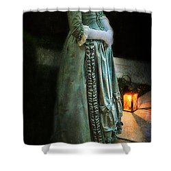 Lady By Lantern Light Shower Curtain by Jill Battaglia