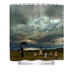 Lady In Graveyard Shower Curtain by Jill Battaglia