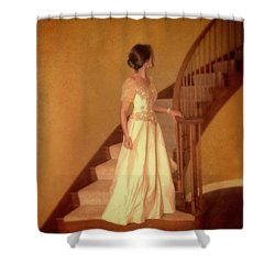 Lady In Lace Gown On Staircase Shower Curtain by Jill Battaglia