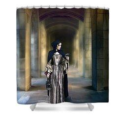 Lady With Bird Shower Curtain by Jill Battaglia