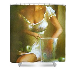 Lady With Green Apples Shower Curtain