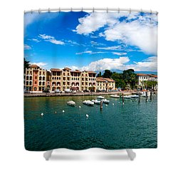 Lago Di Garda In Italy In Early Spring  Shower Curtain by Ulrich Schade