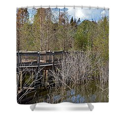 Lake Bonny Boardwalk Shower Curtain