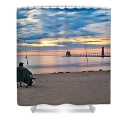 Lake Michigan Fishing Shower Curtain