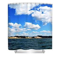 Lake Michigan Shore With Clouds Shower Curtain by Michelle Calkins