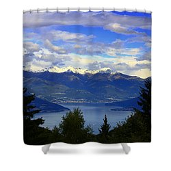 Lake Of Como View Shower Curtain
