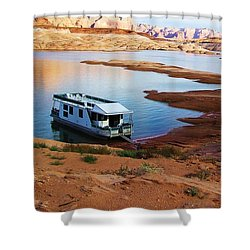 Shower Curtain featuring the photograph Lake Powell Houseboat by Michele Penner