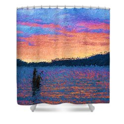 Lake Quinault Sunset - Impressionism Shower Curtain by Heidi Smith