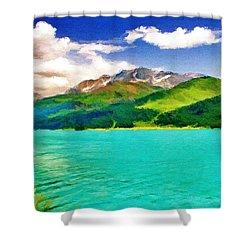 Lake Sils Shower Curtain by Jeffrey Kolker