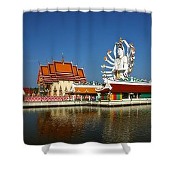 Lake Temple Shower Curtain by Adrian Evans