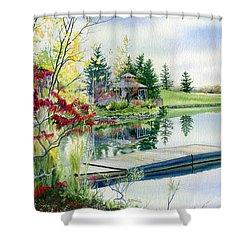 Lakeside Gazebo Shower Curtain by Hanne Lore Koehler
