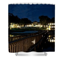 Lakeside Inn At Night Shower Curtain by Christopher Holmes