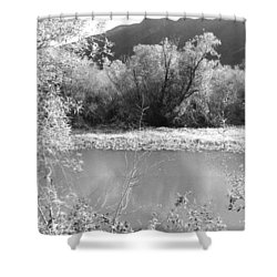 Lakeside Mountain View Shower Curtain