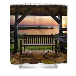 Lakeside Serenity Shower Curtain by Debra and Dave Vanderlaan