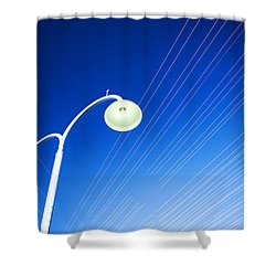 Lamp Post And Cables Shower Curtain by Yew Kwang